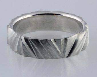 "Sterling Silver Ring, Hand ""Carved"" Band - 9 1/2"