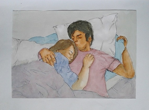 Watercolour, Pen & ink couple cuddling painting original.