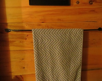 Hand forged iron bathroom towel holder
