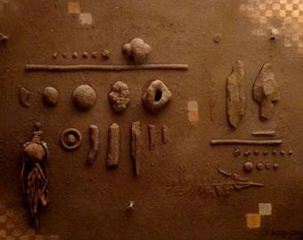 "Earth and Sky  -   original oil/acrylic/enamel/found objects on canvas board  18"" x 22"""