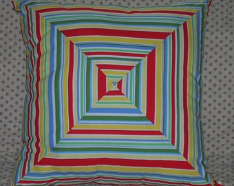 Primary Diagonal & Stripe Pillow