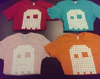 Pixelated Pac Man Ghosts t-shirts