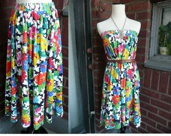 Vintage 70's 80's Floral Maxi Skirt Tube Dress S