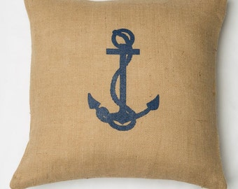 20x20 Natural Burlap Navy Anchor