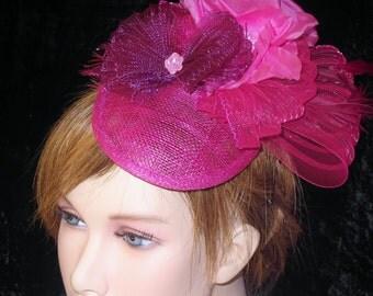 Pink fascinator - Bibi rose