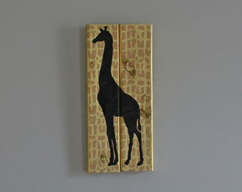 Giraffe Silhouette hand painted wood sign