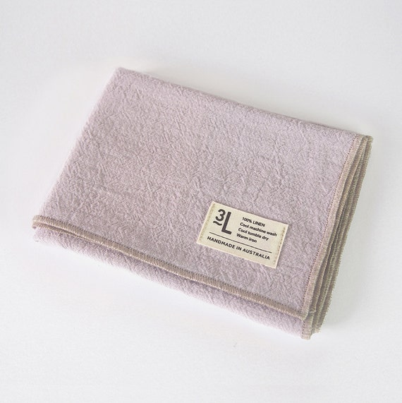 Lilac Stonewashed Flax Linen Hand Towel With By Threelivesdesign