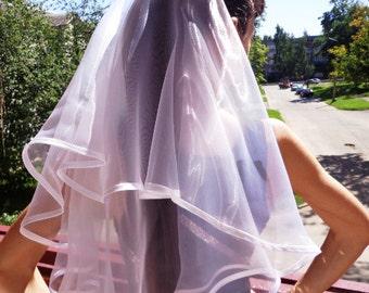 Bachelorette party Veil 2-tier white, long length. Bride veil, accessory, bachelorette veil, wedding veil, hen party veil, bachelorette idea