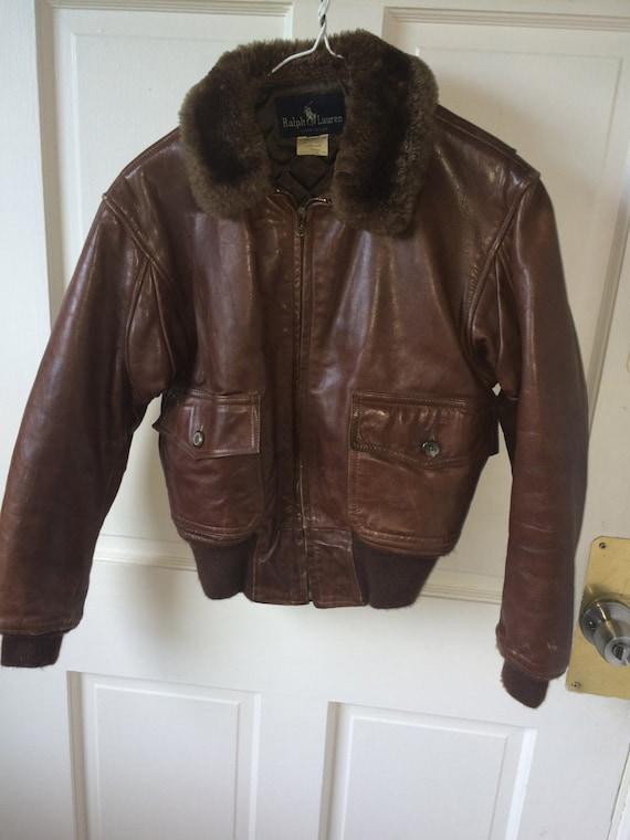 women 39 s vintage ralph lauren leather bomber jacket. Black Bedroom Furniture Sets. Home Design Ideas