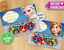 Frozen Favor Bag Toppers - EDITABLE TEXT - Custom Disney Frozen Birthday Printable Party Treat Candy Loot Bags Elsa Anna - Instant download