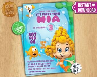 Bubble Guppies Invitation - EDITABLE TEXT - Customizable Bubble Guppies Birthday Party Invite - DEEMA - Instant Download