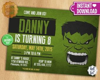 Hulk Invite Etsy