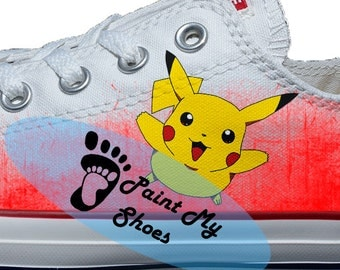 Pokemon, pikachu, converse, Pokemon shoes, hand painted shoes, free shipping in the US