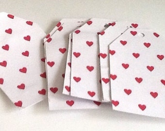 12 Red Heart Gift/Thank You Tags