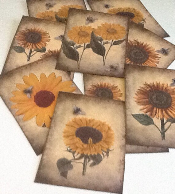 9 Sunflowers & Bees Vintage Gift/Thank You Tags