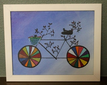 Bird Bike Whimsical Painting
