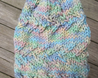"Child's ""Cotton Candy"" Abstract Cable-knit Beanie"