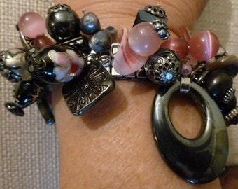 Spandex Bracelet #84 Hemalyke, Black Cloisonne,Large pink Quartz