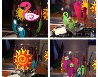 Beach themed wineglass