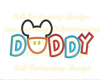 Mickey pants Daddy  embroidery applique design, Mickey face,  ms-017