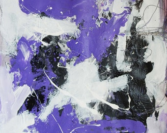 AbstractVIII,acrylic painting,,modern artwork,Gugi Goo,fine art,violet, abstract on paper(SOLD!)