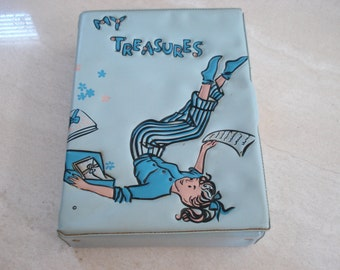 1950s Ponytail Blue Vinyl My Treasures Lock Box