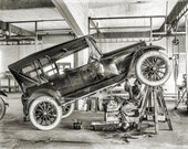 "Vintage 1919 MECHANIC GARAGE - ""Studebaker"" - Reprint Photograph - available in sizes 8x10 11x14 16x20 - Old Car Auto Photo Picture Print"