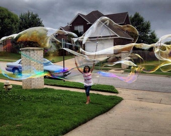 GIANT Bubble Wand Painted Stick Pair Set with Bubbles Recipe Kid Made Kid Tested Mother Approved Bigger Better Bubbles