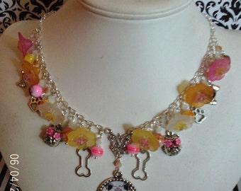 Dia de los Perros~ day of the dog sugar skull bulldog bones paw prints charm necklace
