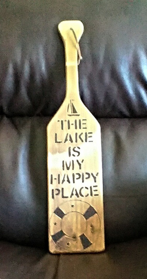 Wood Paddle Wall Decor : Wooden paddle wall decor the lake is my happy by