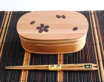 Bento Lunch Box 'Magewappa' set spoon and folk or 5 chopsticks double decorated SAKURA Japanese be-058 set-014 hs-086