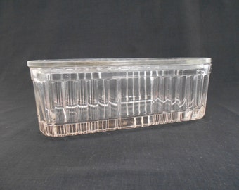 Depression Glass Refrigerator Dish 1930's in Clear Glass  #00009