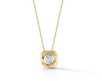 Scribble Infinity Diamond Solitaire Necklace - 18K Yellow Gold & Diamond