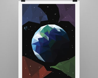 Low poly poster- Earth and Space