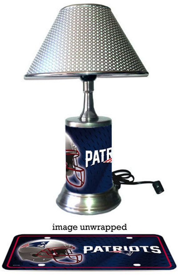 New England Patriots Lamp With Chrome Shade By Giftsbyjs