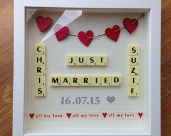Scrabble Art Picture Frame Wedding Gift