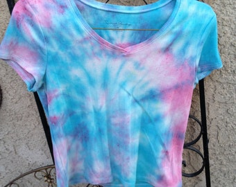 Blue and Pink Tie Dye T-shirt