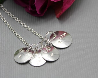 Sterling Silver Initial Charm Necklace 4 charms