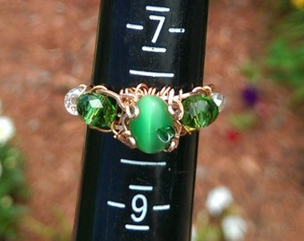 Copper Wire Wrap Ring Garden Hues