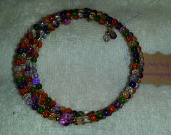 Fall Multi Colored Glass Beaded Memory Wire Bracelet