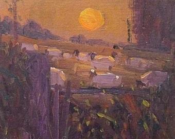 David Rylance (St Ives School Artist) Rural Landscape Oil Painting - Sheep At Sunset