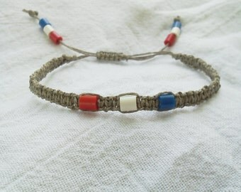 Braided hemp bracelet, red white & blue beads.