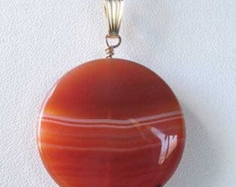 Made In USA Orange-RED Carnelian 14Kgf PENDANT 505677G