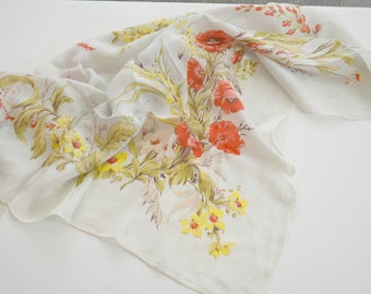 Silk Scarf,Square Scarf, Floral, Poppies,Mid Century, Head Scarf, Statement Scarf,  Neck Scarf