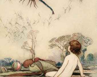 7 Pictures Water Babies as inspired by Warwick Goble 1862 - 1943 +FREE BOOK offer