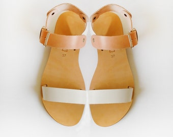 Handmade Leather Sandals in White and Natural Leather