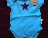 Turquoise Purple Star Baby Vest 3-6 months