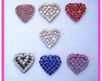 Genuine Crystal Glass Rhinestone Heart Pet Dog Cat Collar Tag - Free Engraving!