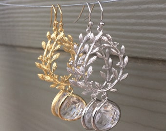 Laurel wreath earring, crystal and gold earring, crystal and silver earring