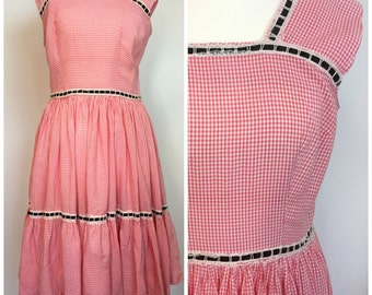 Vintage 1940s 1950s Full Circle Pink Gingham American Square Dance Dress 12 14 M